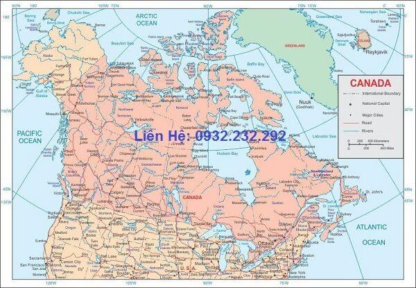 Bán bản đồ nước Canada khổ lớn