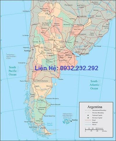 Bản đồ nước Argentina khổ lớn