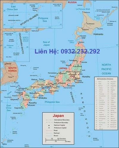 Bản đồ nước Nhật bản khổ lớn