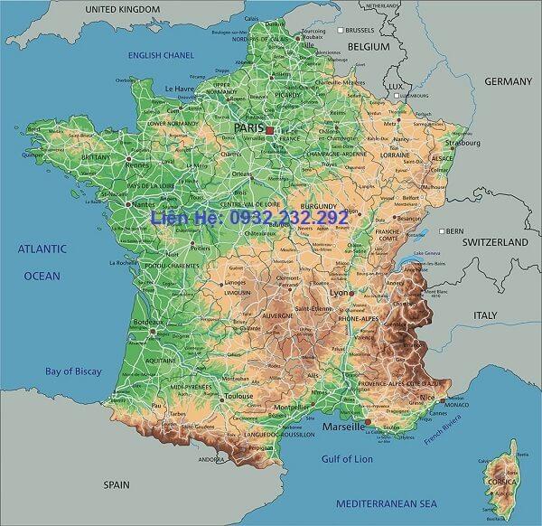 Bản đồ nước Pháp khổ lớn