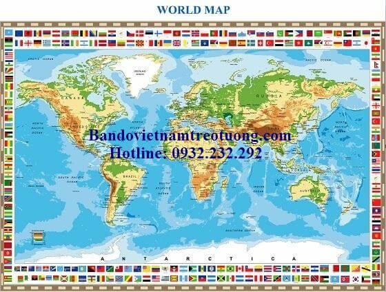 Bản đồ thế giới khổ lớn mẫu 38