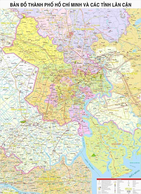 Bản đồ giao thông TpHCM và các tỉnh lân cận khổ lớn