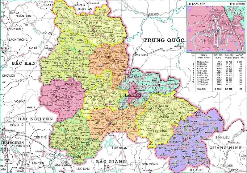 Bản đồ hành chính Lạng Sơn khổ lớn