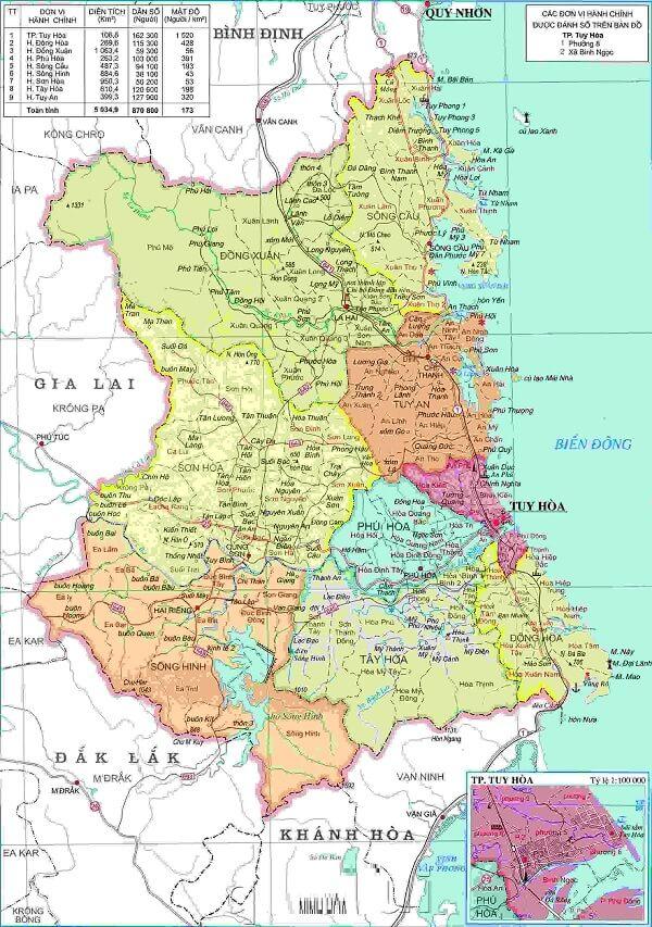 Bản đồ hành chính Phú Yên khổ lớn