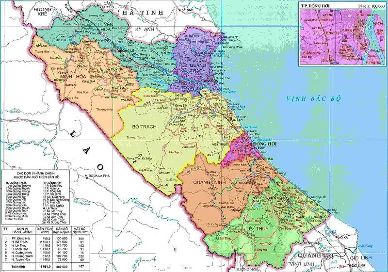 Bản đồ hành chính Quảng Bình khổ lớn