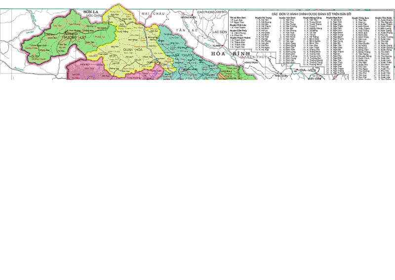 Bản đồ hành chính Thanh Hóa khổ lớn