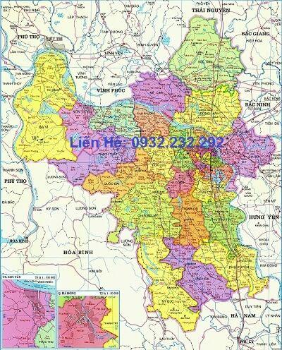 Bản đồ hành chính Tp Hà Nội khổ lớn