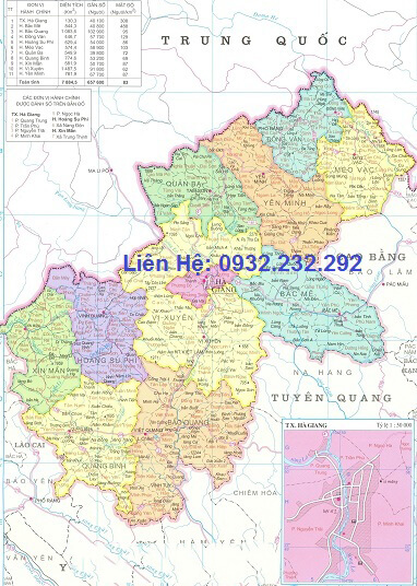 Bản đồ hành chính Hà Giang khổ lớn