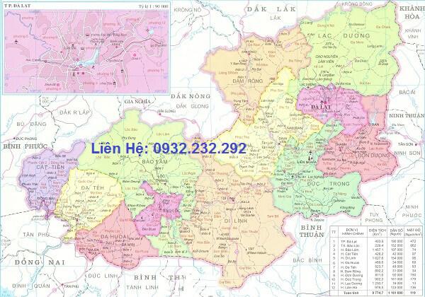 Bản đồ hành chính Lâm Đồng khổ lớn