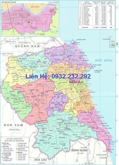 Bản đồ hành chính Quảng Ngãi khổ lớn