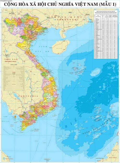 Bán bản đồ Việt Nam Tiếng Anh kích thước lớn