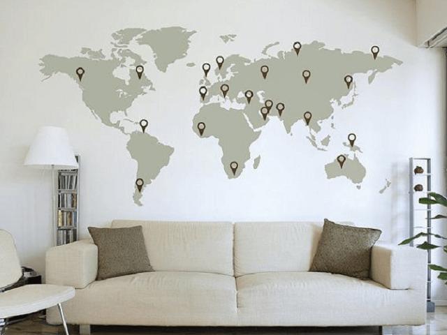 Gợi ý 7 cách dùng bản đồ treo tường thay thế khung tranh