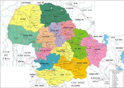 Bản đồ tỉnh Đắc Lắc