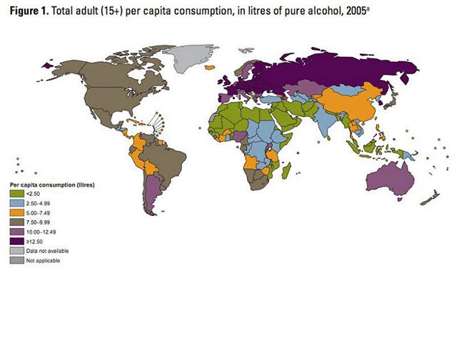 Bản đồ tiêu thụ bia của thế giới