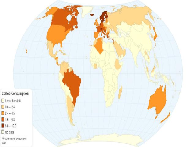 Hình ảnh, bản đồ thế giới, tiêu thụ cà phê qua bản đồ