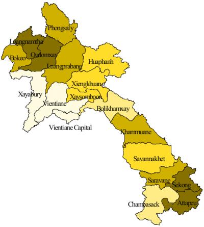 Bản đồ hành chính của nước Lào