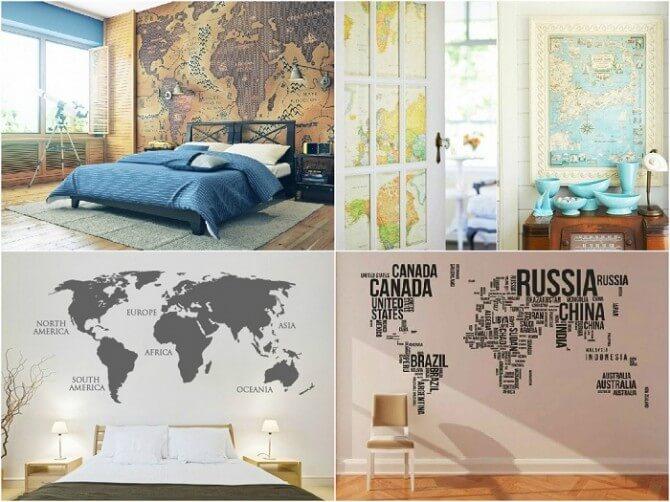Trang trí nhà bằng bản đồ