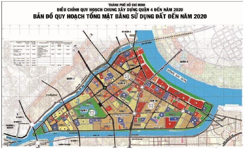 bản đồ quy hoạch quận 4 đến năm 2020