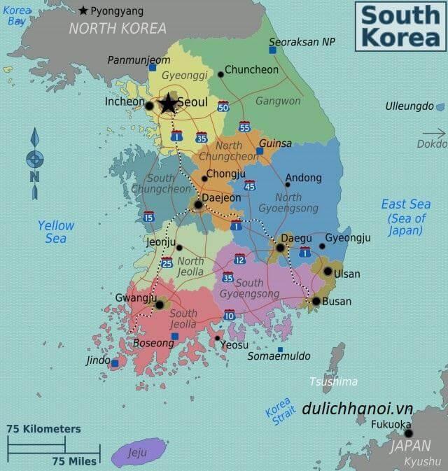 Bản đồ các tỉnh Hàn Quốc