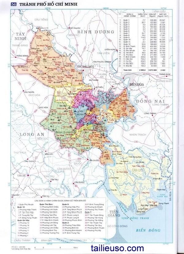 bản đồ các quận tphcm