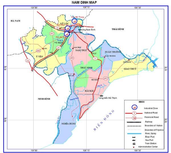 Bản đồ hành chính Nam Định