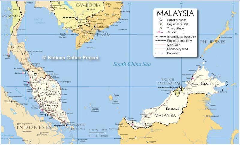 bản đồ đất nước malaysia