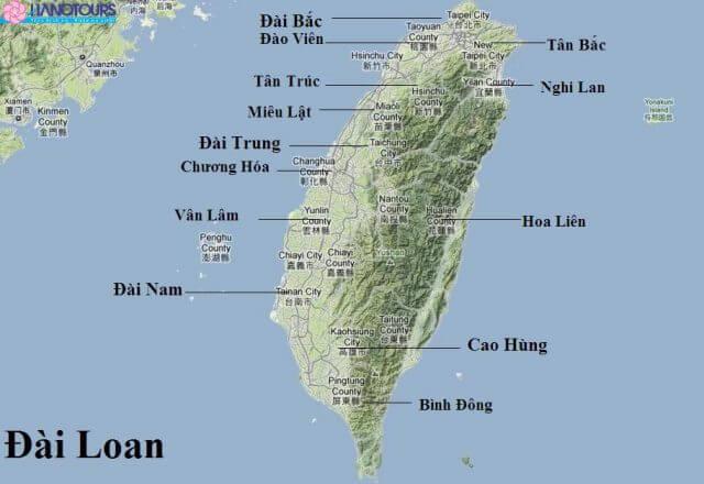 Bản đồ chi tiết đài loan bằng tiếng Việt