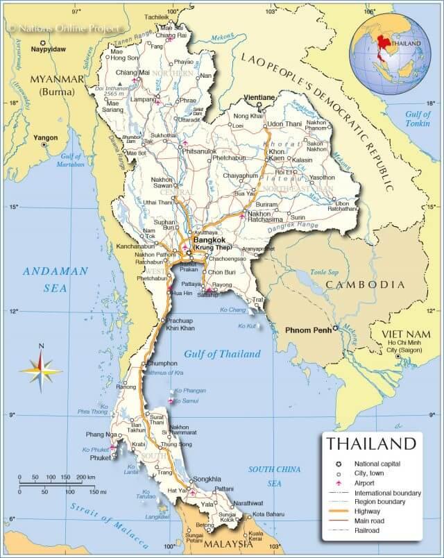 Bản đồ đất nước Thái Lan