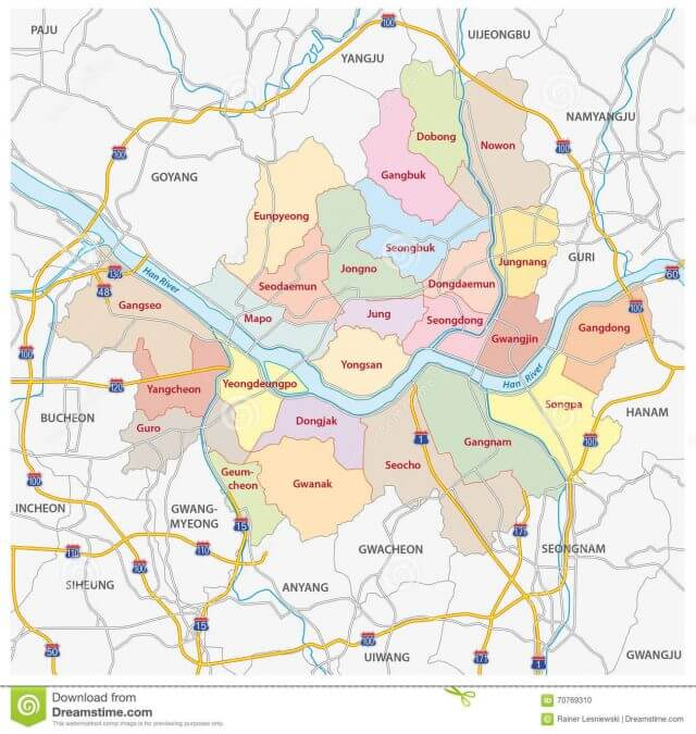Bản đồ thành phố Seoul Hàn Quốc chi tiết