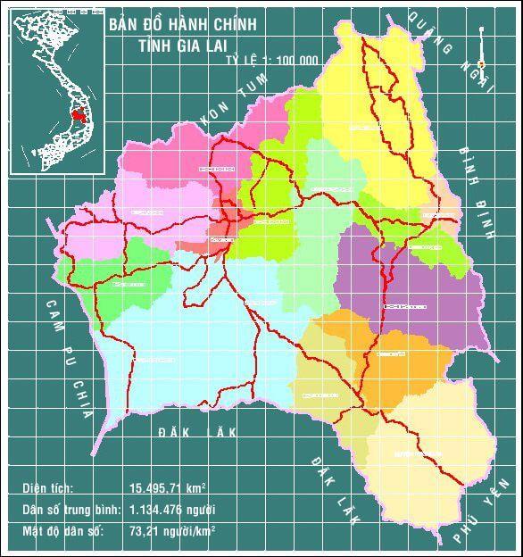 Bản đồ hành chính tỉnh Gia Lai