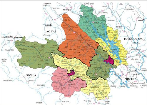 Bản đồ hành chính huyện Yên Bình