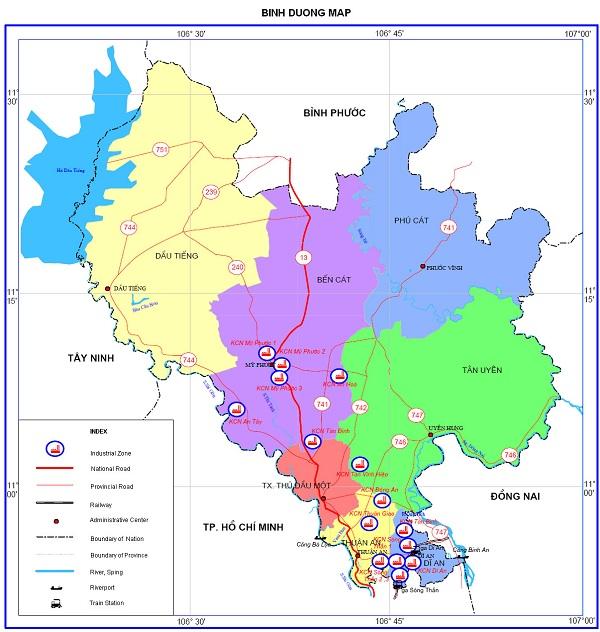Bản đồ hành chính huyện Tân Uyên tỉnh Bình Dương