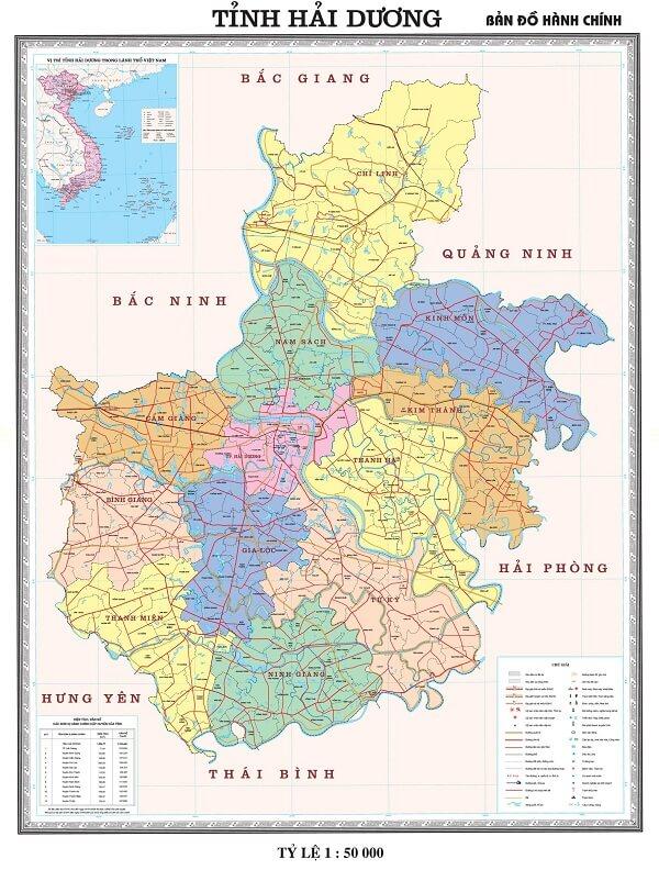 Bản đồ hành chính huyện Tứ Kỳ Hải Dương chất lượng giá rẻ