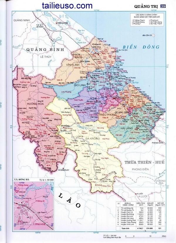 Bán bản đồ hành chính tỉnh Quảng Trị chi tiết nhất