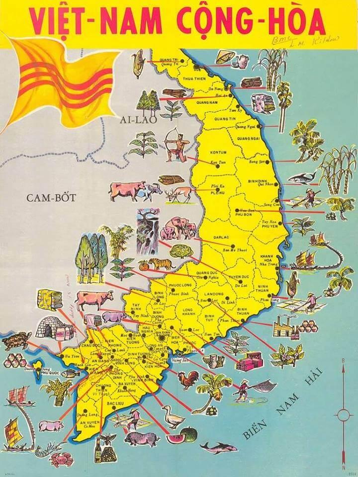 Bản đồ hành chính Việt Nam Cộng hòa thể hiện điều gì?