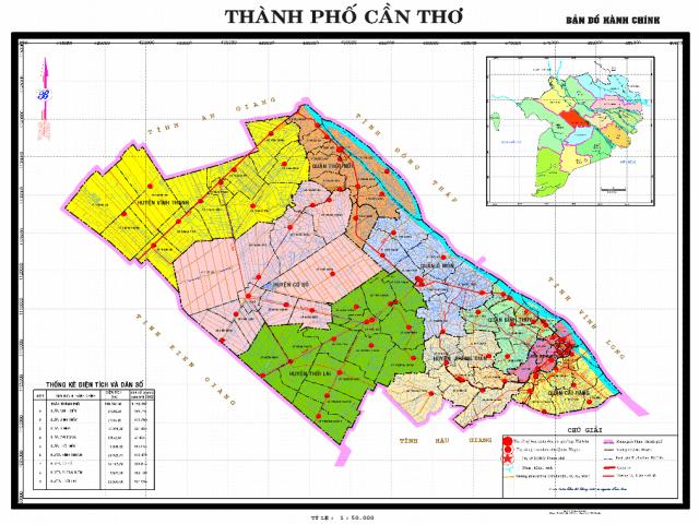 Bản đồ hành chính quận Cái Răng thể hiện điều gì?