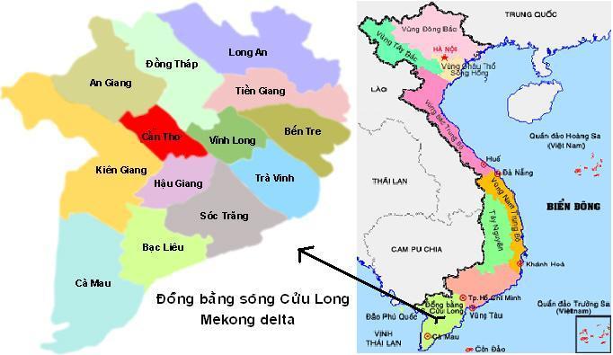 Bản đồ hành chính các tỉnh Nam Bộ