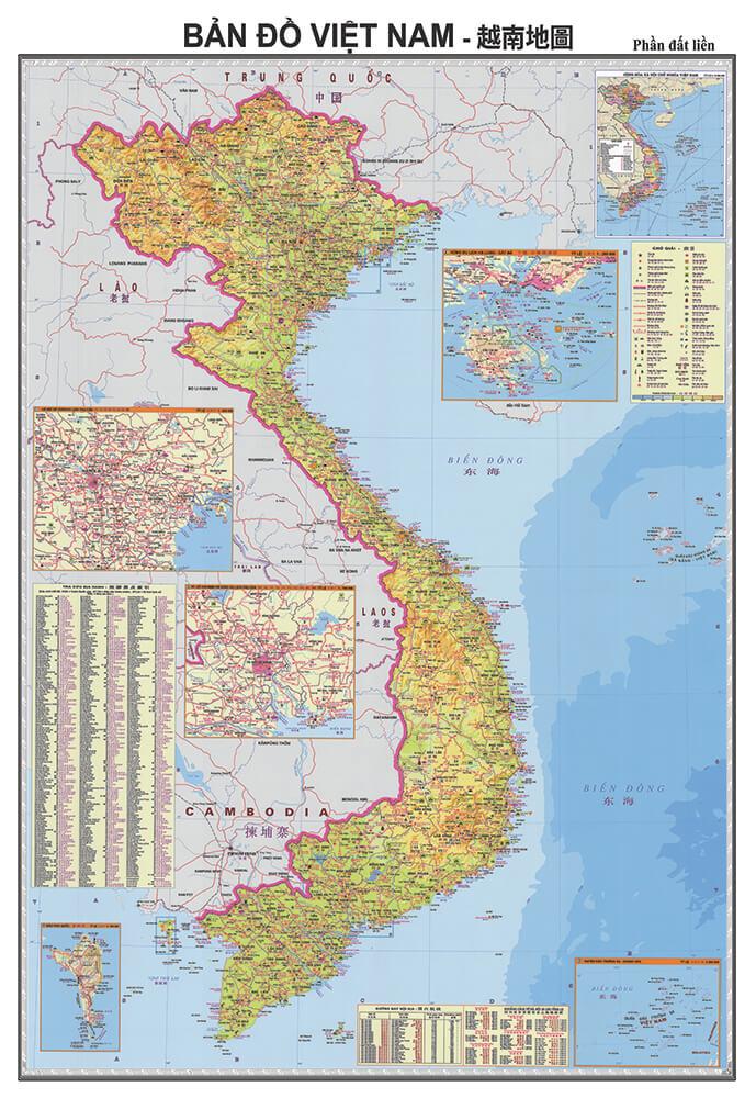Bản Đồ Việt Nam Tiếng Trung Khổ Lớn
